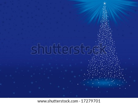 Abstract blue christmas background with christmas tree made by stars