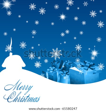 Abstract blue christmas background with gift boxes. Vector eps10 illustration
