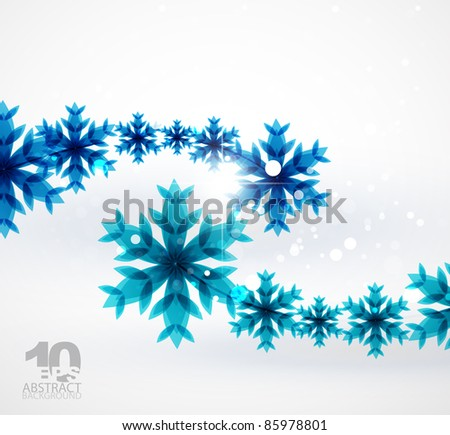 Abstract blue Christmas snowflake background
