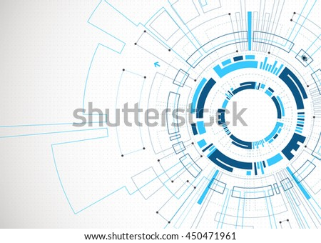 Abstract  blue colored technological background with various tech elements. Structure pattern technology backdrop. Vector