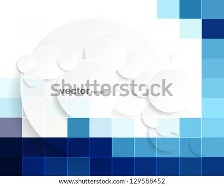 abstract blue colorful mosaic bubbles circle background vector design
