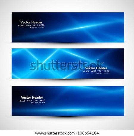 abstract blue colorful website header or banner set vector