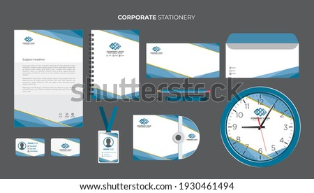Abstract blue company business stationery set Vector  Foto stock ©