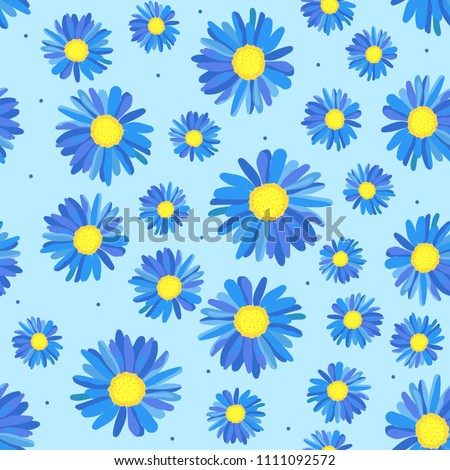 abstract blue daisies on a blue