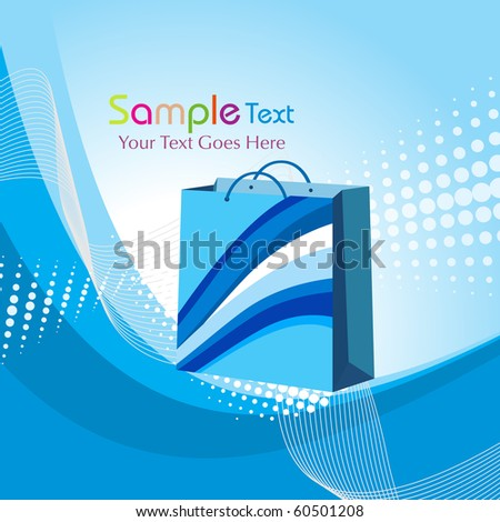 abstract blue dotted background with shopping bag illustration