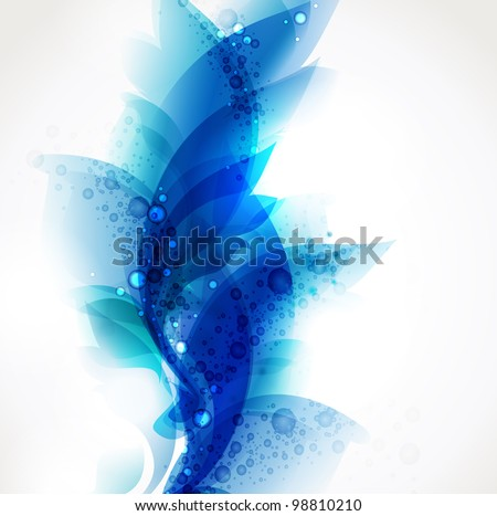 Abstract blue elements for design . Floral vector background .