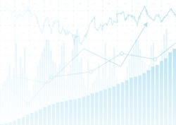 Abstract blue financial chart with up trend line graph and bar chart in stock market on white color background.Vector illustration.