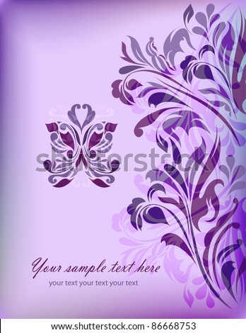 stock vector Abstract blue floral background with your text for your card