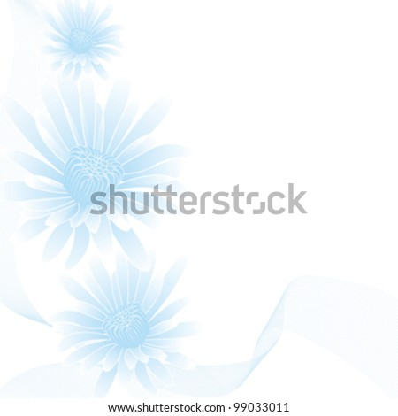 abstract blue flowers on abstract background