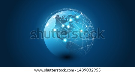 Abstract Blue Futuristic Modern Style Cloud Computing, Networks Structure, Telecommunications Concept Design, Network Connections with Transparent Geometric Mesh - Vector Illustration
