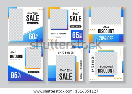 Abstract blue geometric fashion sale instagram post collection. instagram post collection template with photo space.
