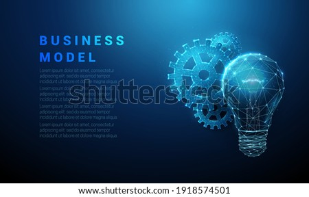 Abstract blue glowing light bulb and cog wheels. Business model concept. Low poly style design. Geometric background. Wireframe light connection structure. Modern 3d graphic. Vector illustration.