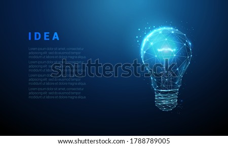 Abstract blue glowing light bulb. Low poly style design. Abstract geometric background. Wireframe light connection structure. Modern 3d graphic concept. Isolated vector illustration.