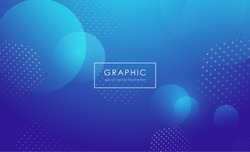Abstract blue gradient background with geometric shape elements and circle light bubbles. Modern and Creative design in EPS10 vector illustration.