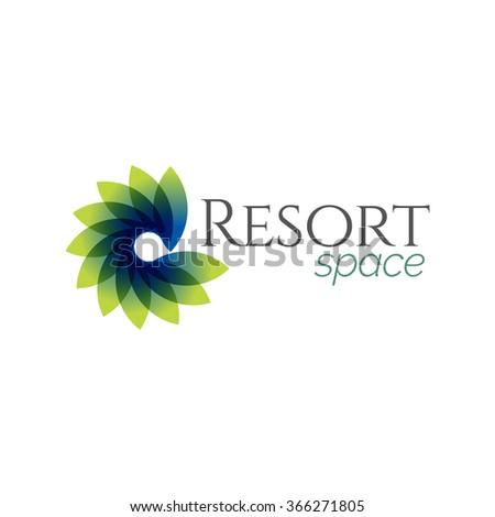 abstract blue green resort spa