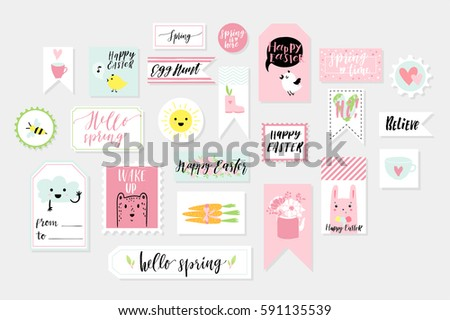 Abstract blue green yellow pink colored Easter and Spring printable tags, stickers and stamps collection. Hand drawn cute animals, signs and lettering sticker kit. Vector illustration.