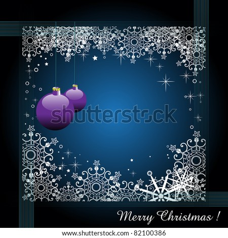 Abstract blue greeting with Christmas balls and snowflakes