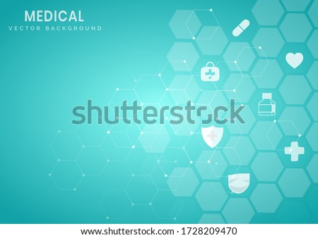 Abstract blue hexagon pattern background.Medical and science concept and health care icon pattern. You can use for ad, poster, template, business presentation. Vector illustration