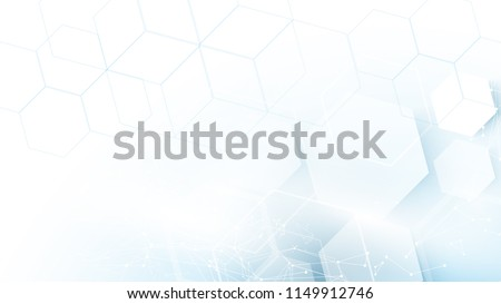 Abstract blue hexagons Futuristic technology concept background