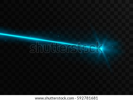 Abstract blue laser beam. Isolated on transparent black background. Vector illustration, eps 10. Foto stock ©