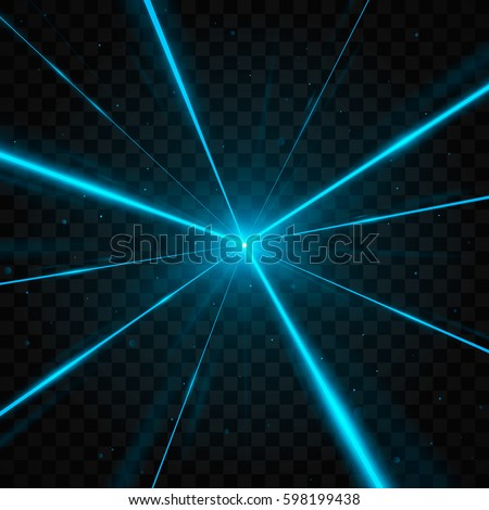 Abstract blue laser beams. Isolated on transparent black background. Vector illustration, eps 10.