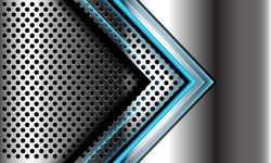 Abstract blue light arrow direction on silver circle mesh design modern futuristic luxury technology background vector illustration.