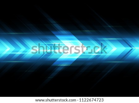 Abstract blue light arrow speed power technology futuristic background vector illustration.