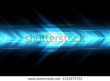 Abstract blue light arrow speed power technology futuristic background vector illustration.