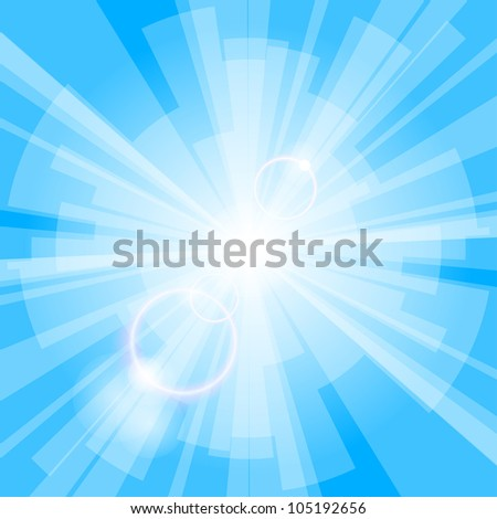 Abstract blue light background with rays. Vector eps10 illustration