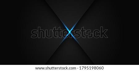 abstract blue light line cross shadow on dark grey design modern luxury futuristic background vector illustration Stockfoto ©