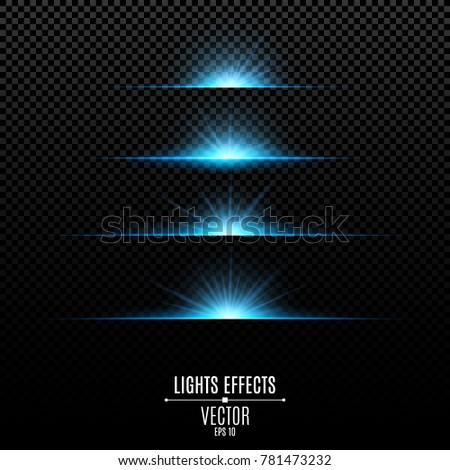 Abstract blue lights on a transparent background. Bright flashes and glare of gold color. Bright rays of light. Glowing lines. Vector illustration