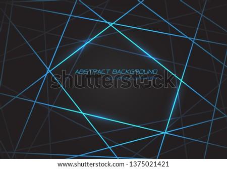 Abstract blue line light laser cross overlap on dark grey design modern technology futuristic background vector illustration.
