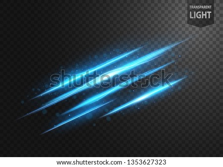 Abstract blue line of light with blue sparks, on a transparent background, isolated and easy to edit