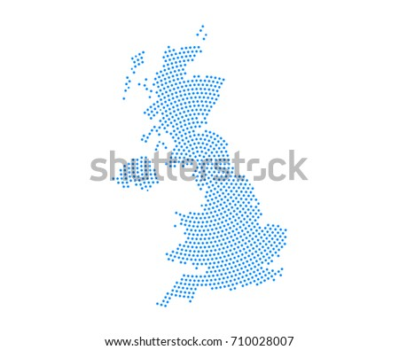 Abstract blue map of United Kingdom UK radial dot planet on white background, halftone concept. Vector illustration eps 10.