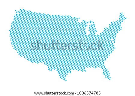 Abstract blue map of United States of America - USA dots planet, lines, global world map halftone concept. Vector illustration eps 10.
