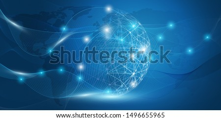 Abstract Blue Minimal Style Cloud Computing, Networks Structure, Telecommunications Concept Design, Network Connections, Transparent Wavy Geometric Mesh - Vector Illustration