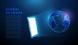 Abstract blue mobile phone, white screen, hologram planet earth. Low poly style design. Geometric background Wireframe light connection structure Modern 3d graphic concept Isolated vector illustration
