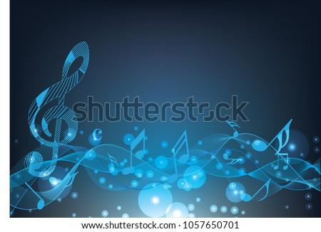 Abstract blue music notes on line wave background. Black G-clef and music notes isolated vector illustration Can be adapt to Brochure, Annual Report, Magazine, Poster, Corporate Presentation.