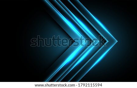 abstract blue neon light arrow