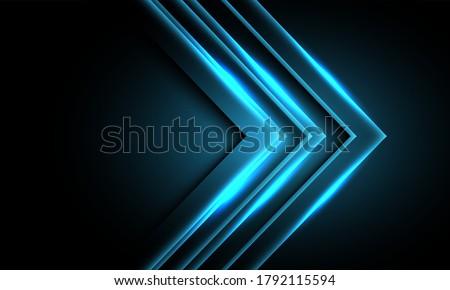 abstract blue neon light arrow