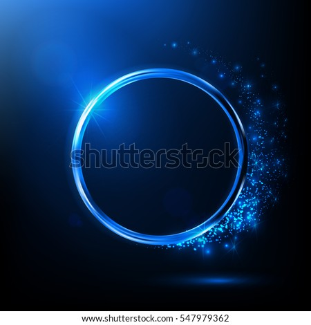 Stock Photo Abstract blue neon ring. Light effect. The whirlwind of shiny particles. Flashes of light on the Emerald Circle. Empty space for text.Vector object.
