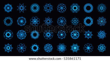 abstract blue neon shape