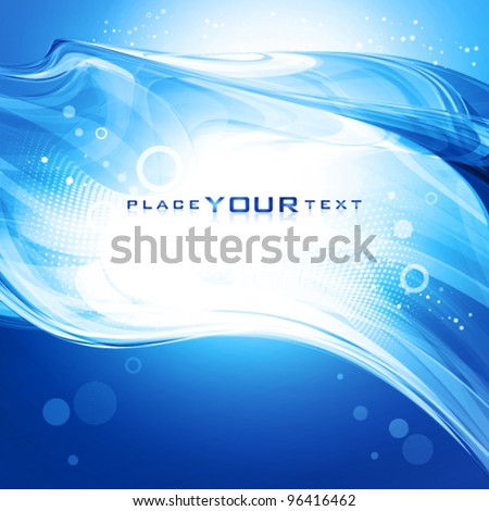 Abstract blue ocean wave. Vector background