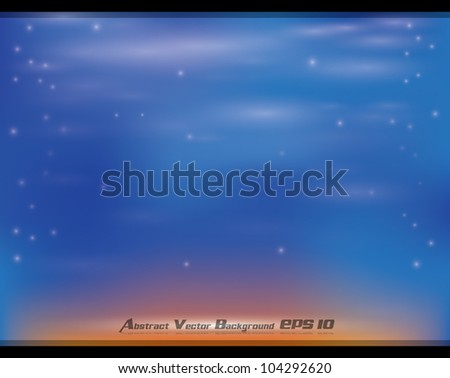 Abstract blue orange soft vector background with glow effects