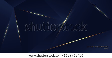 Abstract blue polygon triangles shape pattern background with golden line and lighting effect luxury style. Vector illustration