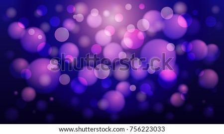 Abstract blue, purple and pink bubble background with bokeh in vector.