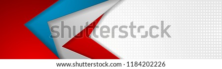 Abstract blue, red and grey tech geometric banner design. Vector web header corporate background