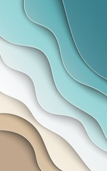 Abstract blue sea and beach summer background with curve paper waves, seacoast, cropped with clipping mask for banner, flyer, invitation, poster or website design. Paper cut style, vector illustration