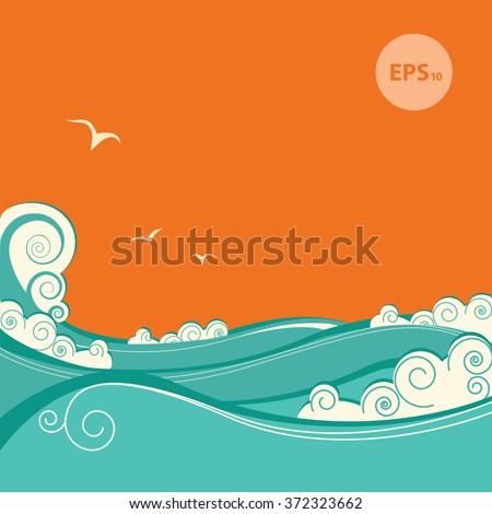 abstract blue sea waves vector