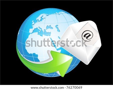 abstract blue shiny globe with mail icon vector illustration - stock vector
